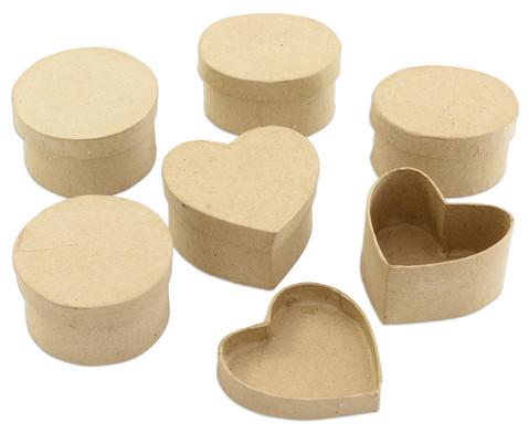 Pappdosen Kreis Oval und Herz 6 Stueck