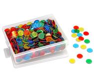 Große Kunststoffbox gefüllt mit 1000 farb-transparenten Chips