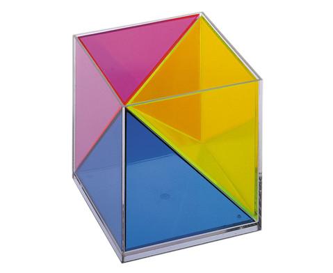 Modell Wuerfel zerlegbar in 3 raumgleiche Pyramiden