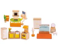 Puppen-Möbel-Set-Grundausstattung, 28-teilig