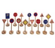 Verkehrszeichen aus Holz, 15-teilig