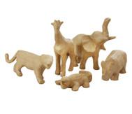 Pappmaché Tierset mit 5 Tierfiguren