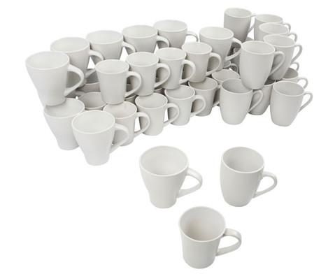 48 Porzellantassen in verschiedenen Formen
