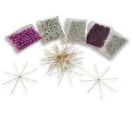 Draht-Sterne-Set Lila-Pink-Silber