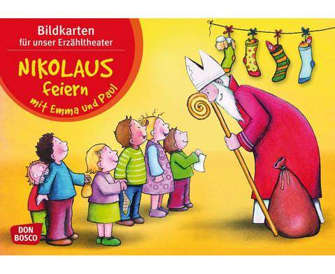 Bildkarten Nikolaus feiern mit Emma und Paul