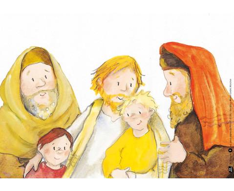 Bildkarten Jesus segnet die Kinder-4