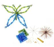 Schmetterling-Draht-Set, grün/blau