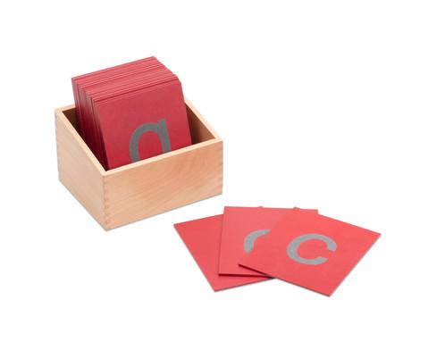 Fuehl- und Tastplatten Kleinbuchstaben in Holzbox