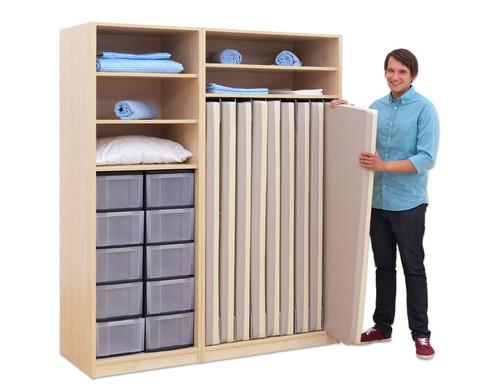 Flexeo Schrank mit 10 grossen Boxen und 9 Matrazenfaechern