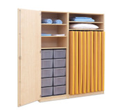 Flexeo Schrank mit 10 großen Boxen, 9 Matrazenfächern und 1 Tür