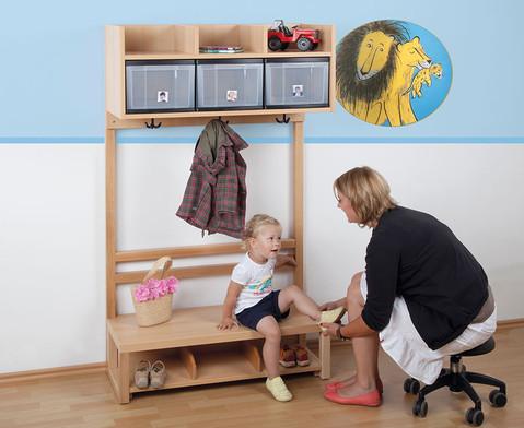 Garderobenschrank fuer 4 Kinder mit 4 Boxen