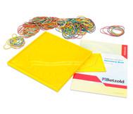 Geometriebrett - Set mit Beiheft und Gummibändern