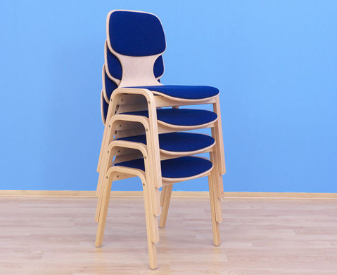 Holzstuhl mit Sitz- und Ruecken-Polster-3