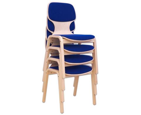 Holzstuhl mit Sitz- und Ruecken-Polster-2