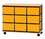 Container-System mit Holz-Ablage, 9 große Schübe