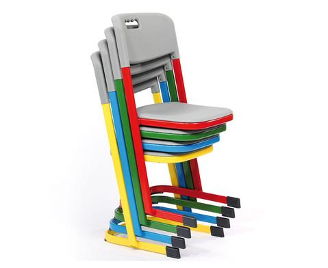 Luftpolster-Schuelerstuhl mit U-Fuss Sitzhoehe 42 cm Stahlfarbe