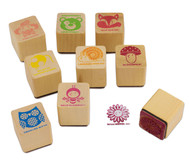 Lehrerstempel aus Holz, 9-teilig