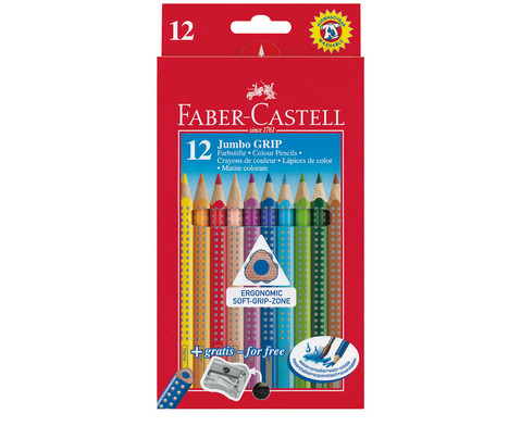 FABER-CASTELL dicke Colour Grip Holzstifte 12 Stueck