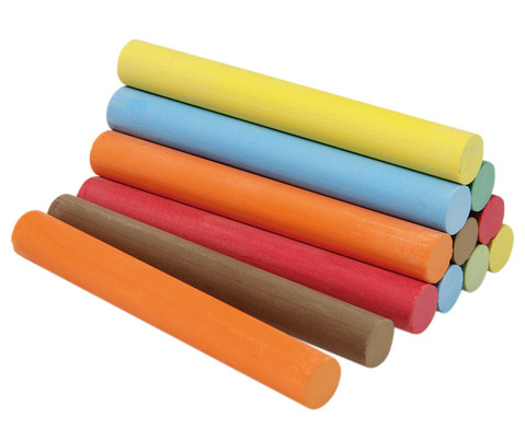 12 Stueck Kreide in Faltschachtel 6 Farben je 2 Stueck rund