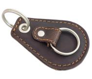 Schlüsselanhänger mit 2 Schlüsselringen, Echtleder, dunkelbraun