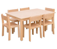 Möbel-Set Ortho Sitzhöhe 34 cm, Tischhöhe 58 cm, Ahorn
