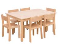 Möbel-Set Ortho Sitzhöhe 38 cm, Tischhöhe 64 cm, Ahorn