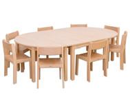 Möbel-Set Karima, Sitzhöhe 26 cm Tischhöhe 46 cm, Ahorn
