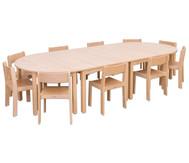 Möbel-Set Bunga, Sitzhöhe 30 cm, Tischhöhe 52 cm, Ahorn