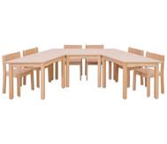 Möbel-Set Padma, Sitzhöhe 38 cm, Tischhöhe 64 cm, Ahorn