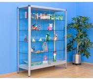 Alu-Standvitrine (Breite:100 cm) Seiten: Acrylglas; Türen: Sicherheitsglas