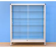 Alu-Standvitrine (Breite: 150cm) Seiten: Acrylglas; Türen: Sicherheitsglas