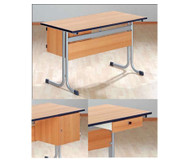 Lehrertisch mit T-Fuß, Blende & PU-Kante