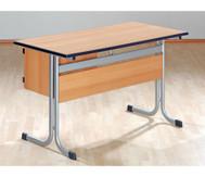 Lehrertisch mit T-Fuß, Blende, abschließbarer Schublade & PU-Kante