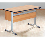 Lehrertisch mit T-Fuß, Blende, abschließbarem Fach & PU-Kante