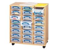 Fahrbares Regalsystem mit 24 Boxen