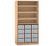 Flexeo Regal mit 3 Schrägablagen und 12 großen Boxen