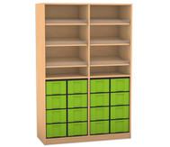 Flexeo Regal mit 6 Schrägablagen und 16 großen Boxen