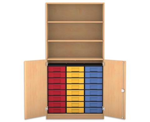 Flexeo Halbtuerenschrank mit 24 kleinen Boxen und 2 Halbtueren