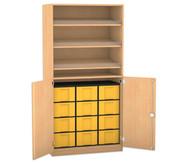 Flexeo Schrank mit 3 Schrägablagen, 12 großen Boxen und 2 Halbtüren