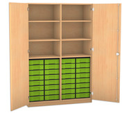 Flexeo Hochschrank mit 6 Fächern, 32 kleinen Boxen und Türen