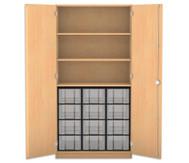 Flexeo Hochschrank mit 3 großen Fächern, 12 großen Boxen und Türen