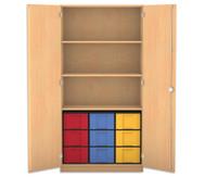 Flexeo Hochschrank mit 3 großen Fächer, 9 großen Boxen und Türen