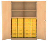 Flexeo Hochschrank mit 4 Fächern, 20 großen Boxen und Türen