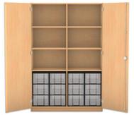 Flexeo Hochschrank mit 6 Fächern, 12 großen Boxen und Türen