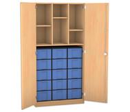 Flexeo Hochschrank mit 6 Fächern, 15 großen Boxen und Türen