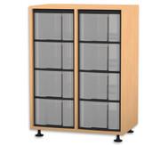 Flexeo Regal, 2 Reihen, 8 große Boxen HxBxT: 92,3 x 66,5 x 40,8 cm
