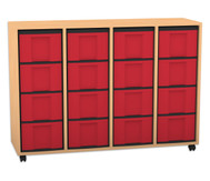 Flexeo Regal, 4 Reihen, 16 große Boxen HxBxT: 92,3 x 130,7 x 40,8 cm