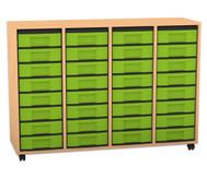 Flexeo Regal, 4 Reihen, 32 kleine Boxen HxBxT: 92,3 x 130,7 x 40,8 cm