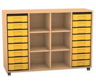 Flexeo Regal mit 3 Reihen, 6 Fächern und 16 kleinen Boxen