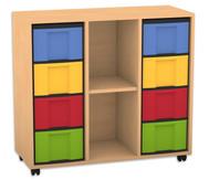 Flexeo Regal mit 3 Reihen, 2 Fächern und 8 großen Boxen